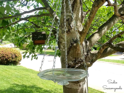 Thrifted Glass Lid Hanging DIY Bird Bath from Sadie Seasongoods