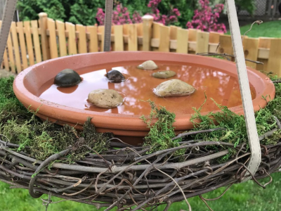 Easy terra cotta DIY bird bath from brandnewell designs